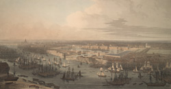 View of Brunswick Dock on the Thames at Blackwall